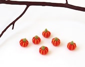 Dollhouse pumpkin set, miniature needle felted orange pumpkins, tiny felt vegetables, Thanksgiving decor