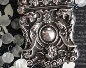 CHERUB Antique Match Safe Locket Necklace. Sterling Silver. William B Kerr. Putti Winged Cherub Head With Griffins. Renaissance Assemblage