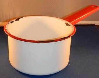 Vintage Red & White Enamelware Pan