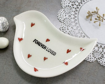 Ceramic Love Birds ring dish Jewelry Bowl Heart Dish Red Hearts Pottery Bowls, FOREVER LOVED, Modern White Ring bearer pillow Wedding decor