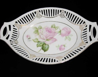 Baveria Germany Pink Roses Porcelain Pierced Oval Dish~Basket