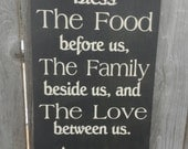 Bless the food before us Sign Rustic country kitchen sign Hand painted Typography Word Sign Dining Room Decor