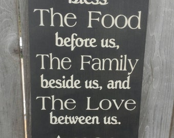 Amazing Bless The Food Before Us Sign Rustic Country Kitchen Sign Hand Painted  Typography Word Sign Dining