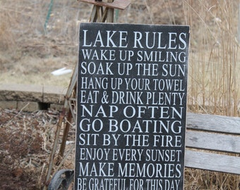 Cabin decor, Lake house decor, Cottage Custom Rules Sign Primitive Typography 14x24 subway sign customize to your cabin