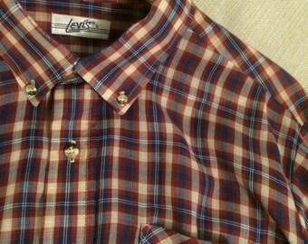 Vintage Levi's Button Down Shirt L ~ Hipster Mod Mad Men