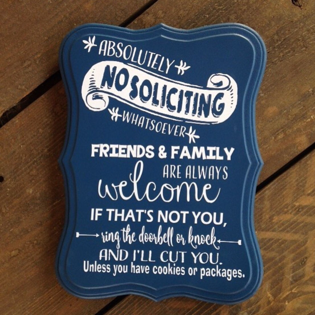 No soliciting sign friends and family welcome do not ring or Where did the saying knock on wood come from