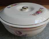 Wedding table decor Cottage Chic Floral covered Oven Proof Bak-Serv Good Housekeeping cassarole dish bowl