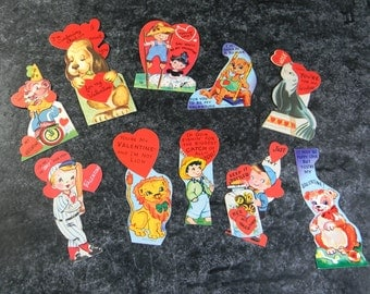 Vintage Valentine cards lot of 10 paper scrapbooking supplies 1950's