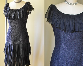 SALE****Vintage Lace and Chiffon LBD, Drop Waist Little Black Dress, Off the shoulder Dress, 1980s LBD in a 20s style