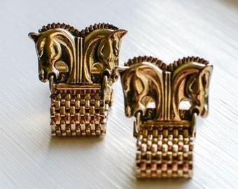 Vintage Gold Tone Cuff Links, Swank Horse Bit Cuff Links, Mad Men Style Cufflinks
