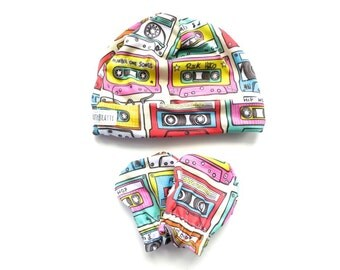 80s Style - Mix Tape Cassette Tape Baby Hat and Scratch Mitten Gift Set - Newborn Receiving Set - Baby Gift Set - Modern Baby Gift - Music