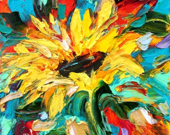 Sunflower painting original oil 6x6 palette knife impressionism on canvas fine art by Karen Tarlton