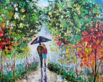 Original oil painting Romance Landscape Love is in the Air abstract palette knife impressionism on canvas fine art by Karen Tarlton