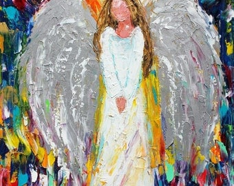 Original oil painting Angel of Hope and Light palette knife impressionism on canvas fine art by Karen Tarlton