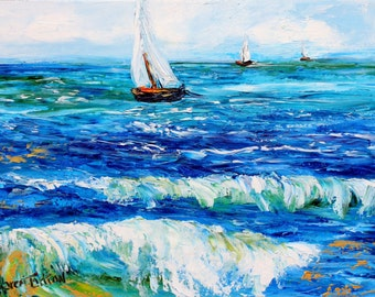 Original oil painting Sailing boats palette knife 12x16 impressionism on canvas fine art by Karen Tarlton
