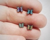 Pretty Red or Blue or Green Butterfly Stylish Surgical Steel Stud Earring. Perfect for Helix and Cartilage Piercings.