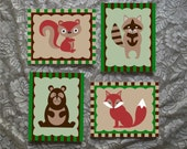 Set of 4 Nursery Forest Animals Hand Painted 8 x 10 Canvas Wall Art