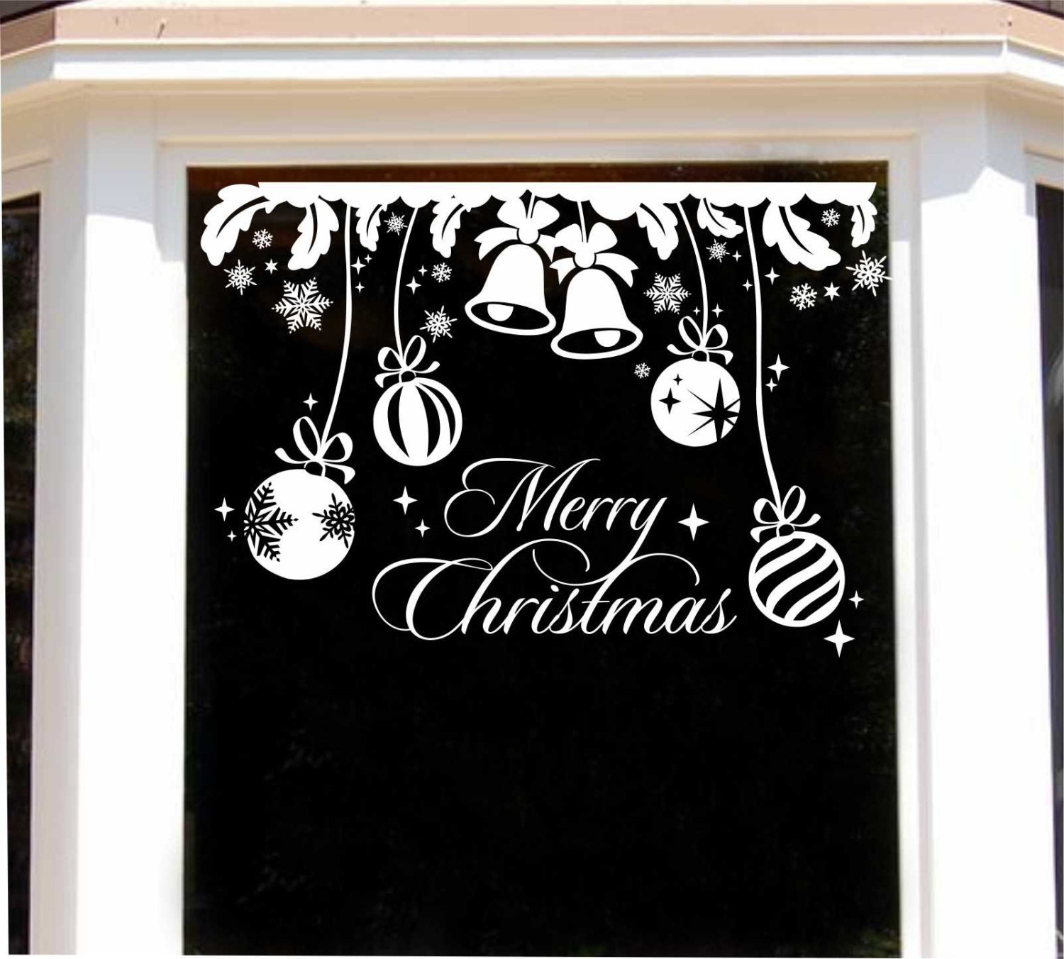 Merry christmas bells decal holiday window decor vinyl wall for Christmas window mural
