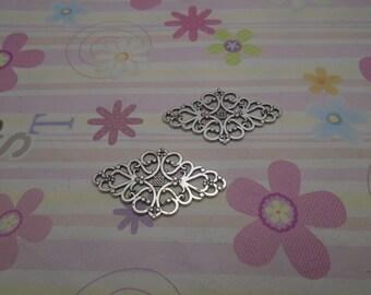 10pcs antique silver flower findings 42mmx25mm