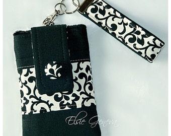 Black White Damask Phone Case Solid Black Linen Floral Swirls Wristlet  Decorative Button Optional Shoulder Strap Satchel Purse Cross Body