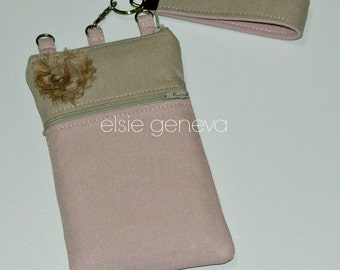 Solid Sand Natural Soft Pale Blush Pink Japanese Linen Zipper Phone Case Rosette with Wristlet Key Fob or Shoulder Strap Cross Body