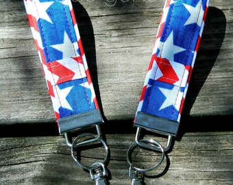 4th of July Key Fob Wristlet Key Chain Red White Blue Independence Day Stars Stripes Chevron