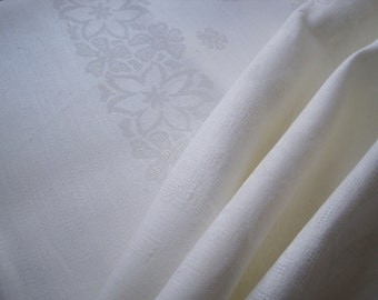Excellent French linen damask tablecloth fabric, two lengths available.  Heavenly fabric, to be sewn
