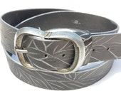 for father Gift for men Handmade black leather belt with silver carvings - Oval gunmetal buckle - Mens Belt - Womens belt -