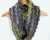 Green Knitted Cowl - Chunky Neck Scarf - Knit Shrug - Chunky Neckwarmer - Woodland Colours