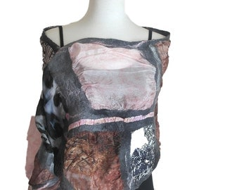 Silk Wrap - Wedding Wrap - Hand Painted Silk Shawl - Special Occasion Coverup - Pink and Brown