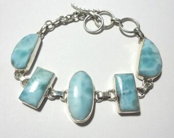 Larimar Bracelet Larimar Gemstone Bracelet in Solid Sterling with Adjustable Toggle Clasp
