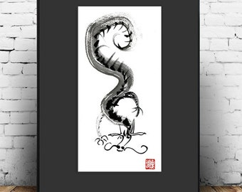 Dragon painting, Chinese Zodiac Year of Dragon, Zen Sumi e Ink Painting, zen decor, taoist art japan scroll, tea ceremony, game of thrones
