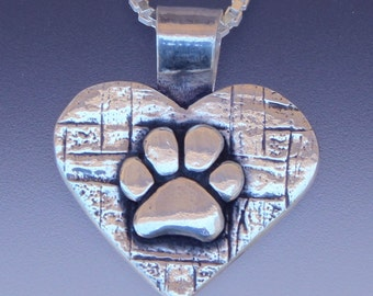 Dog Paw Heart Pendant - Dog Paw Pendant - Dog Paw Jewelry - Paw Jewelry - Dog Jewelry - Animal Jewelry - Dog Lovers Jewelry - Hearts