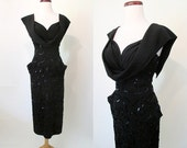 "ON HOLD Jaw Dropping 1950's Designer Vintage Cocktail Party Dress Shelf Bust/Sequins by ""Audree Gay Creations"" Chic Pinup Girl  size Small"