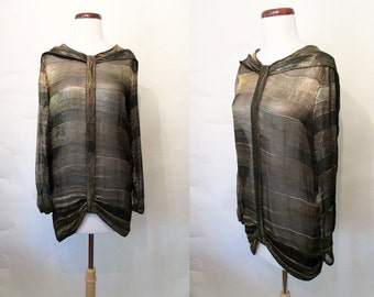 Gorgeous 1920's Gold Lame Long Sleeve Blouse Old Hollywood Great Gatsby Roaring 20's Flapper Downton Abby Size-Medium