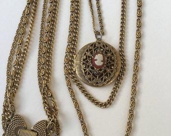 Vintage Goldette Locket Necklace Triple Chain Layers Cameo Locket ON SALE