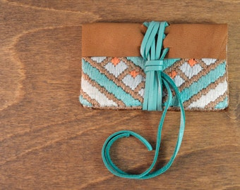 Needlepoint and Leather Business Card Holder/Wallet - Silk and Deer Hide Leather