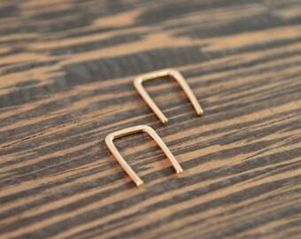 Small Threader Earrings - Hypoallergenic, 14k Rose Gold Fill - 18 gauge