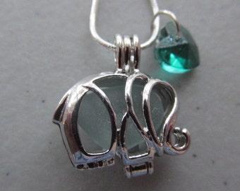Elephant Pendant, Locket Necklace, Elephant Locket, Elephant Necklace, Elephant Jewelry, Gift for Her, Animal Pendant,  Beach Glass Jewelry