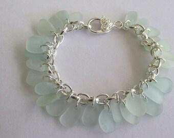 Bracelet Jewelry, Sea Foam Sea Glass Bracelet, Chain Bracelet, Beach Glass Jewelry, Genuine Sea Glass, Beach Jewelry