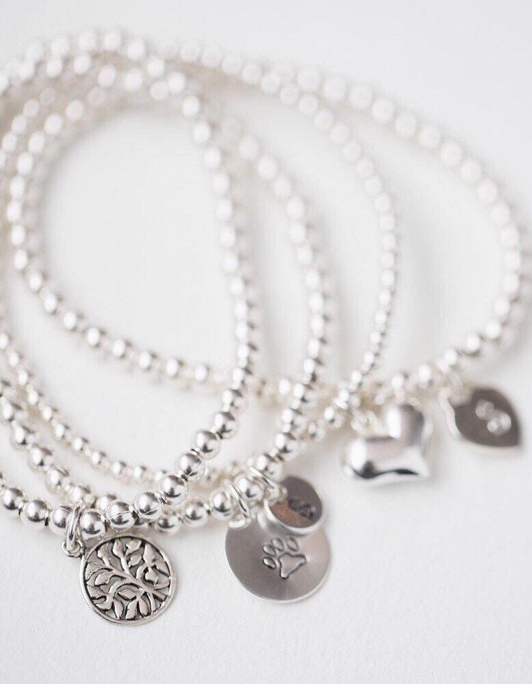 Silver Paw Cavachons: Paw Print Bracelet Silver Paw Charm Sterling Silver Paw