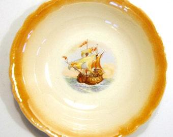 Peach Lusterware Nautical Bowl, Peach Lusterware Bowl with Ship, Lusterware Fruit Bowl, Vintage Fruit Bowl with Ship, Nautical Lusterware