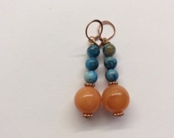 Light Blue and Sunny Orange Earrings
