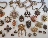 VTG 21 Heraldic Enamel Coro Heraldic Necklace Shield Crest Coat of Arms Brooch