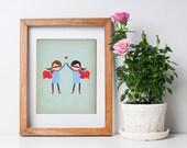 Super High Five - Girls - Customizable 8x10 Archival Art Print