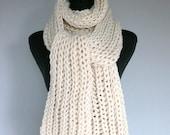 Oversized Extra Long Wool Acrylic Scarf Light Ivory Cream Color Chunky Yarn Men Women Unisex