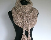 FREE US SHIPPING - Light Beige Taupe Oatmeal Color Chunky Knitted Kerchief Wrap Mini Shawl Stole Scarf with Cord Ties Tassels