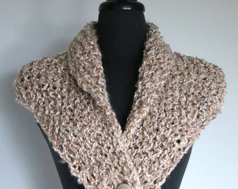 Outlander Inspired Fichu Shawl Light Beige Taupe Oatmeal Color Kerchief Mini Shawl Wrap Stole Button Scarf with Tassel