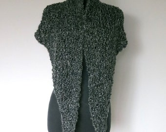Outlander Inspired Fichu Shawl Dark Gray Color Chunky Knitted Chunky Fichu Shawl Wrap Stole  with Tassels Fringes