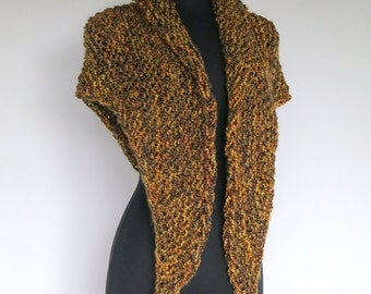 HOLIDAY SALE- Five Spices Color Olive Khaki Green Caramel Color Size Small Chunky Knitted Wrap Fichu Shawl Stole with Tassels